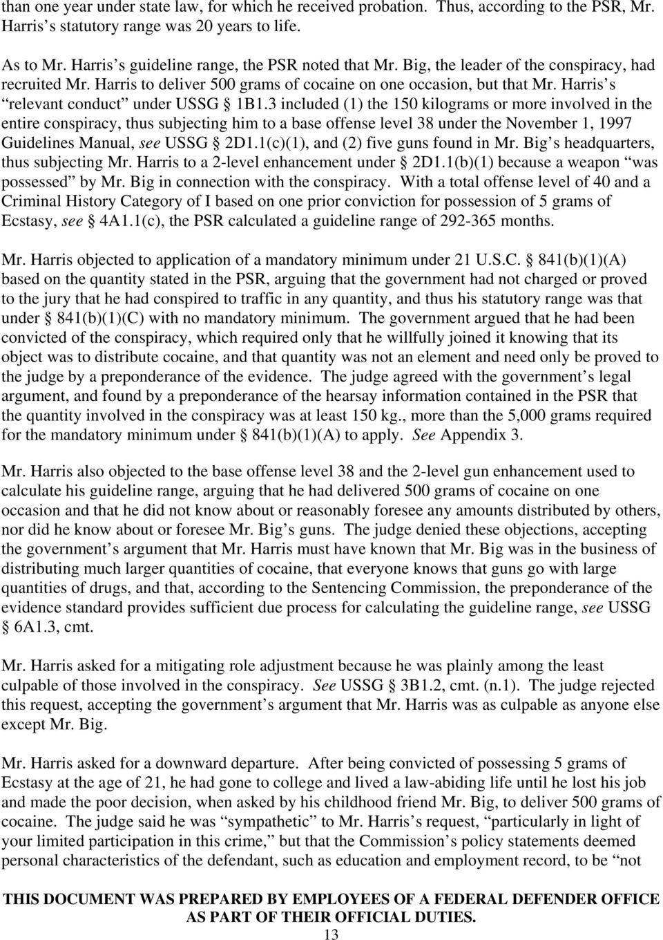 Harris s relevant conduct under USSG 1B1.