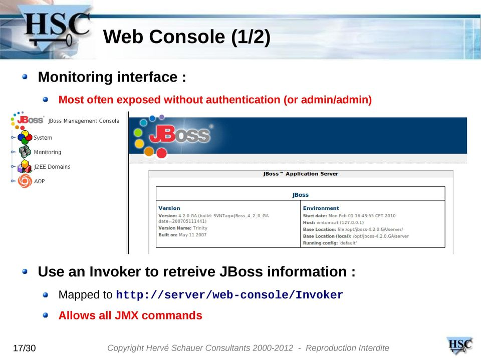 Invoker to retreive JBoss information : Mapped to