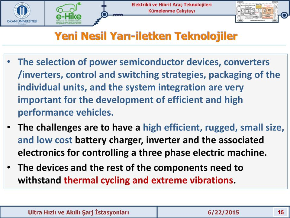 The challenges are to have a high efficient, rugged, small size, and low cost battery charger, inverter and the associated electronics for