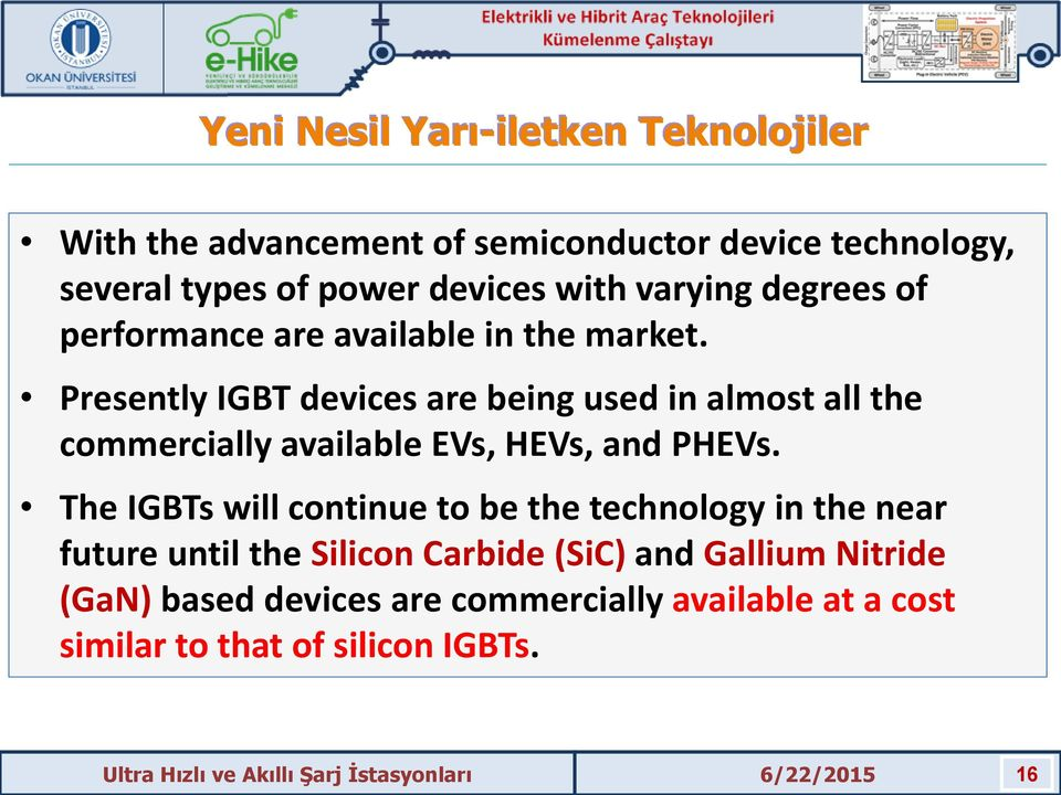 Presently IGBT devices are being used in almost all the commercially available EVs, HEVs, and PHEVs.