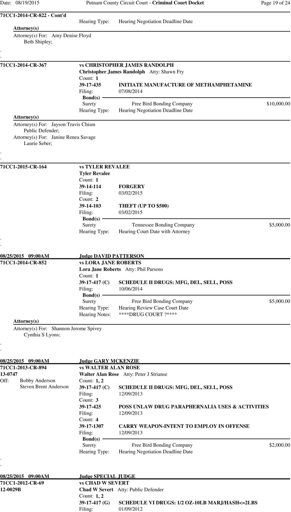 Savage Laurie Seber; 71CC1-2015-CR-164 vs TYLER REVALEE Tyler Revalee 39-14-114 FORGERY Filing: 03/02/2015 Filing: 03/02/2015 Surety Tennessee Bonding Company $5,00000 Hearing Court Date with