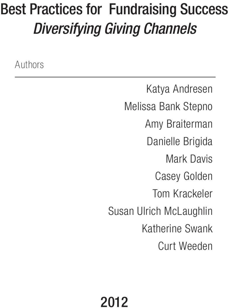 Braiterman Danielle Brigida Mark Davis Casey Golden Tom