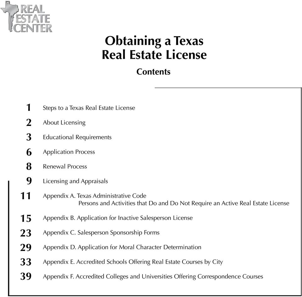 Texas Administrative Code Persons and Activities that Do and Do Not Require an Active Real Estate License Appendix B.