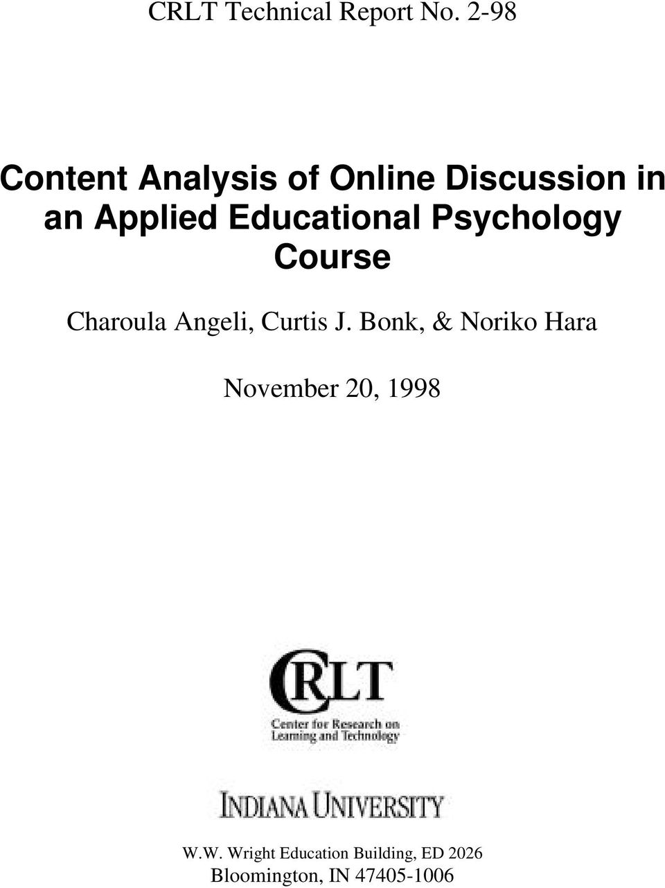 Educational Psychology Course Charoula Angeli, Curtis J.