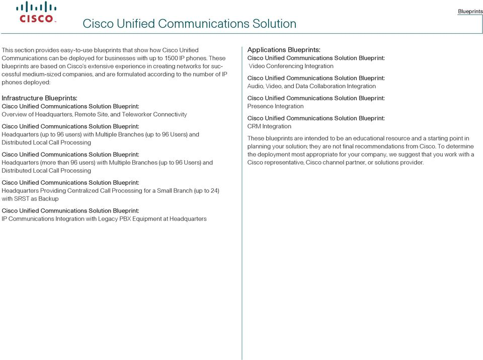 Blueprints: Communications Solution Blueprint: Overview of Headquarters, Remote Site, and Teleworker Connectivity Communications Solution Blueprint: Headquarters (up to 96 users) with Multiple
