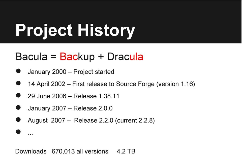 16) 29 June 2006 Release 1.38.11 January 2007 Release 2.0.0 August 2007 Release 2.