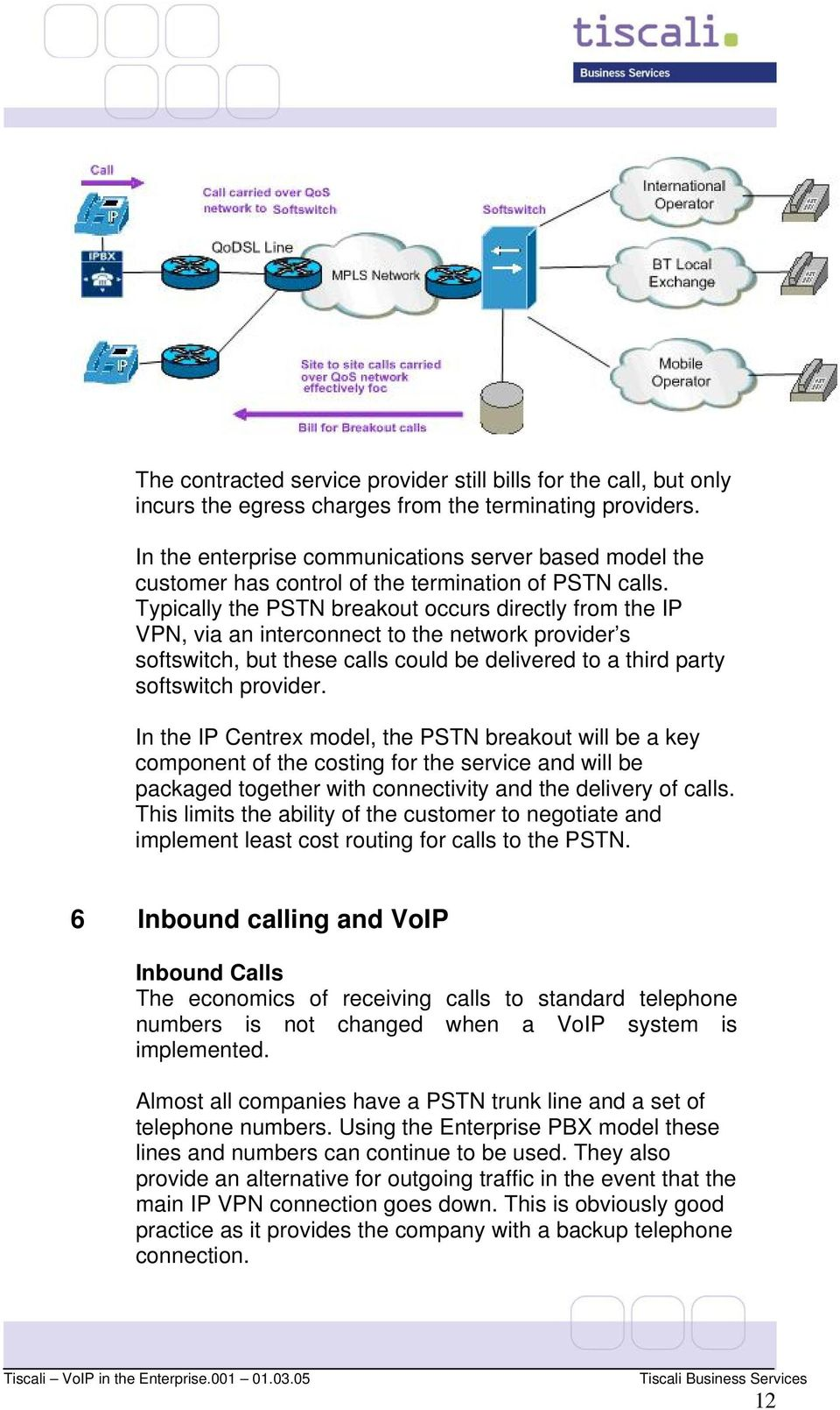 Typically the PSTN breakout occurs directly from the IP VPN, via an interconnect to the network provider s softswitch, but these calls could be delivered to a third party softswitch provider.