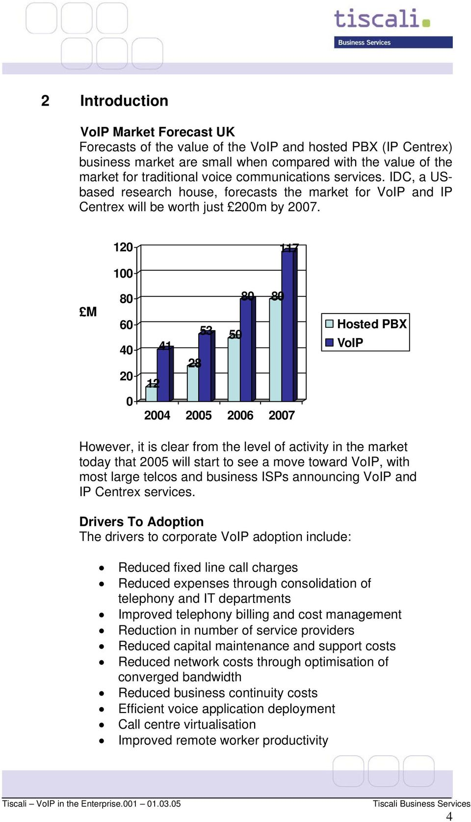 120 117 100 M 80 60 40 20 0 80 80 53 41 50 28 12 2004 2005 2006 2007 Hosted PBX VoIP However, it is clear from the level of activity in the market today that 2005 will start to see a move toward