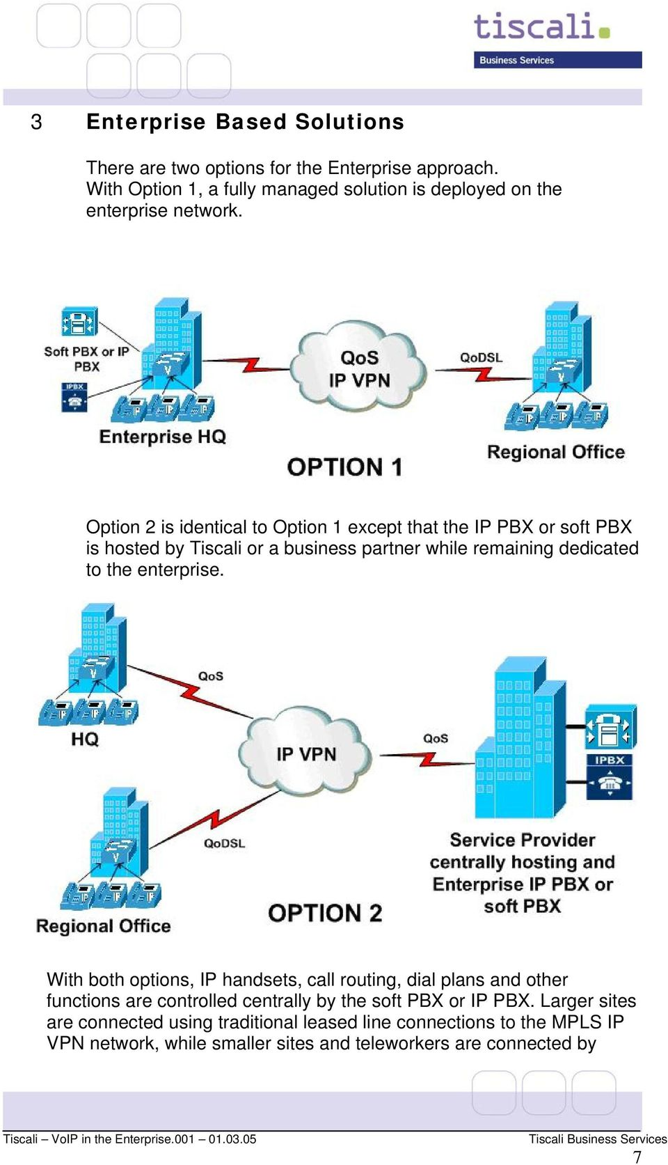 Option 2 is identical to Option 1 except that the IP PBX or soft PBX is hosted by Tiscali or a business partner while remaining dedicated to the