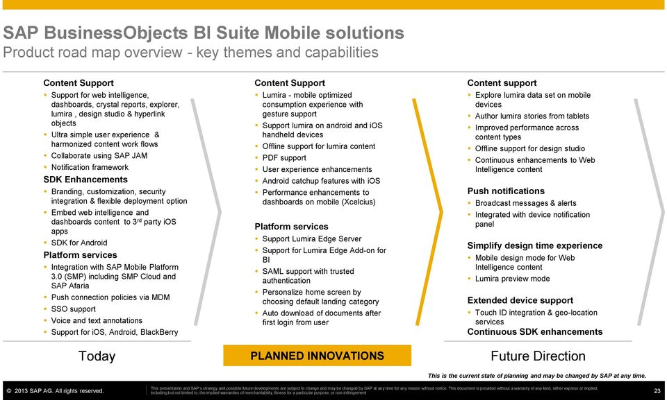 integration & flexible deployment option Embed web intelligence and dashboards content to 3 rd party ios apps SDK for Android Platform services Integration with SAP Mobile Platform 3.