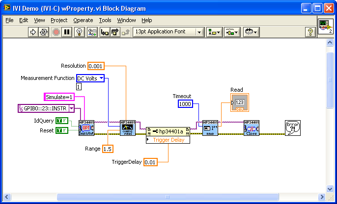 Setting a Property in an IVI-C Driver Properties such as Trigger Delay can also be set (and read) with a property node.