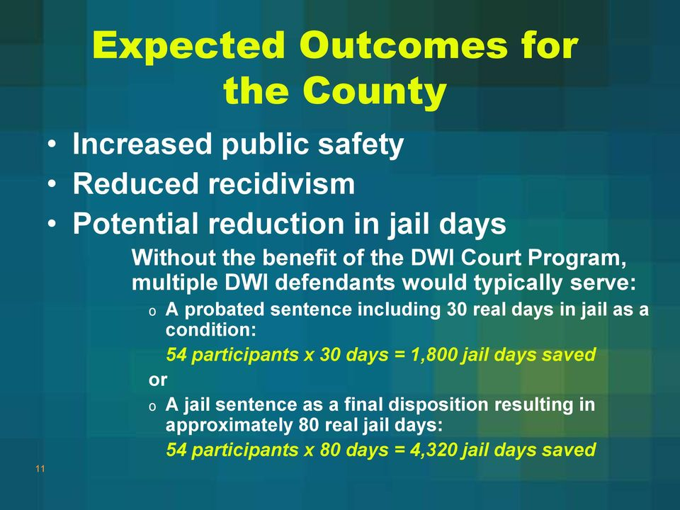 including 30 real days in jail as a condition: 54 participants x 30 days = 1,800 jail days saved or o A jail