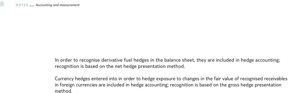 Currency hedges entered into in order to hedge exposure to changes in the fair value of recognised