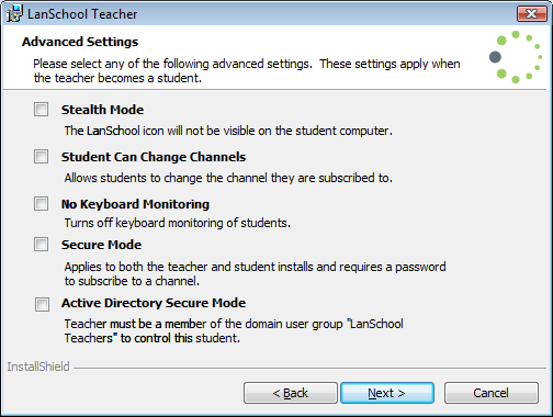 Simplified Install The different options for LanSchool can now be set in