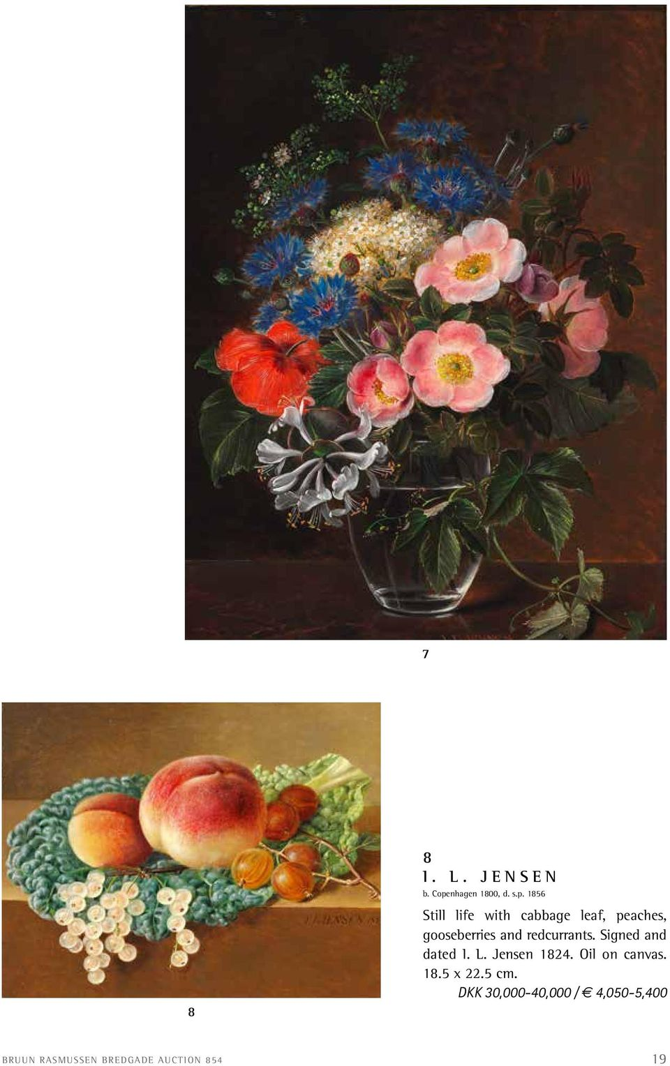 1856 Still life with cabbage leaf, peaches, gooseberries and