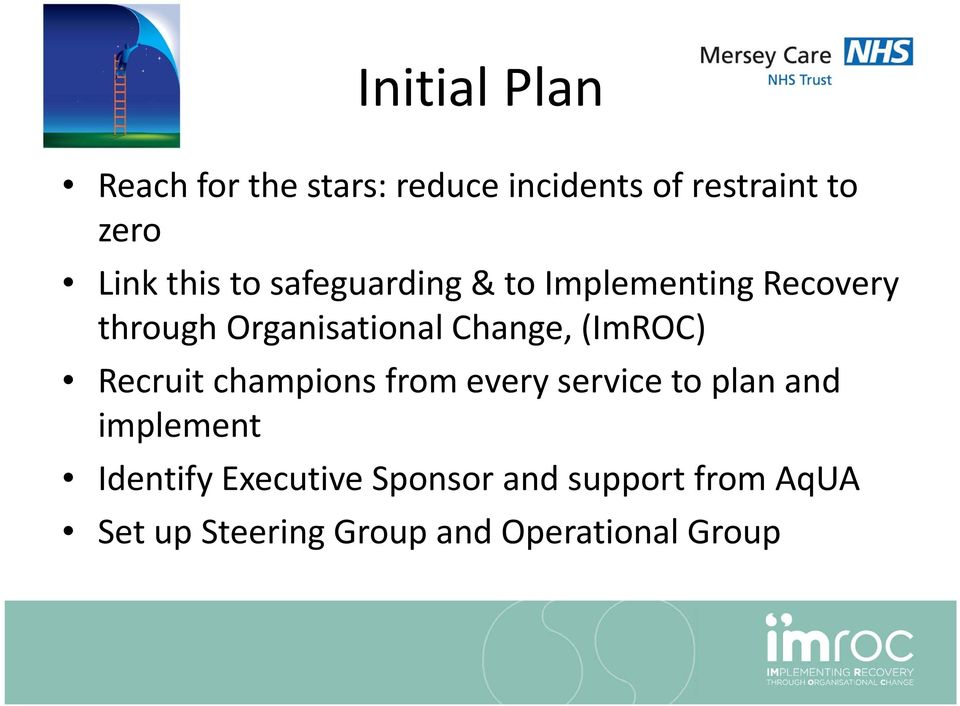 (ImROC) Recruit champions from every service to plan and implement Identify