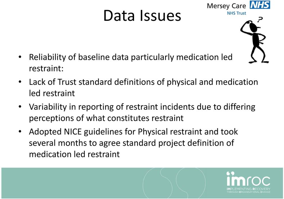 incidents due to differing perceptions of what constitutes restraint Adopted NICE guidelines for