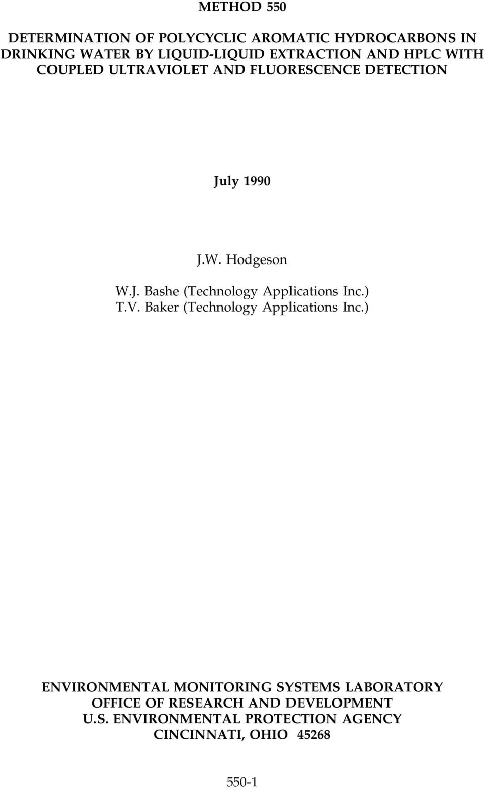ly 1990 J.W. Hodgeson W.J. Bashe (Technology Applications Inc.) T.V. Baker (Technology Applications Inc.
