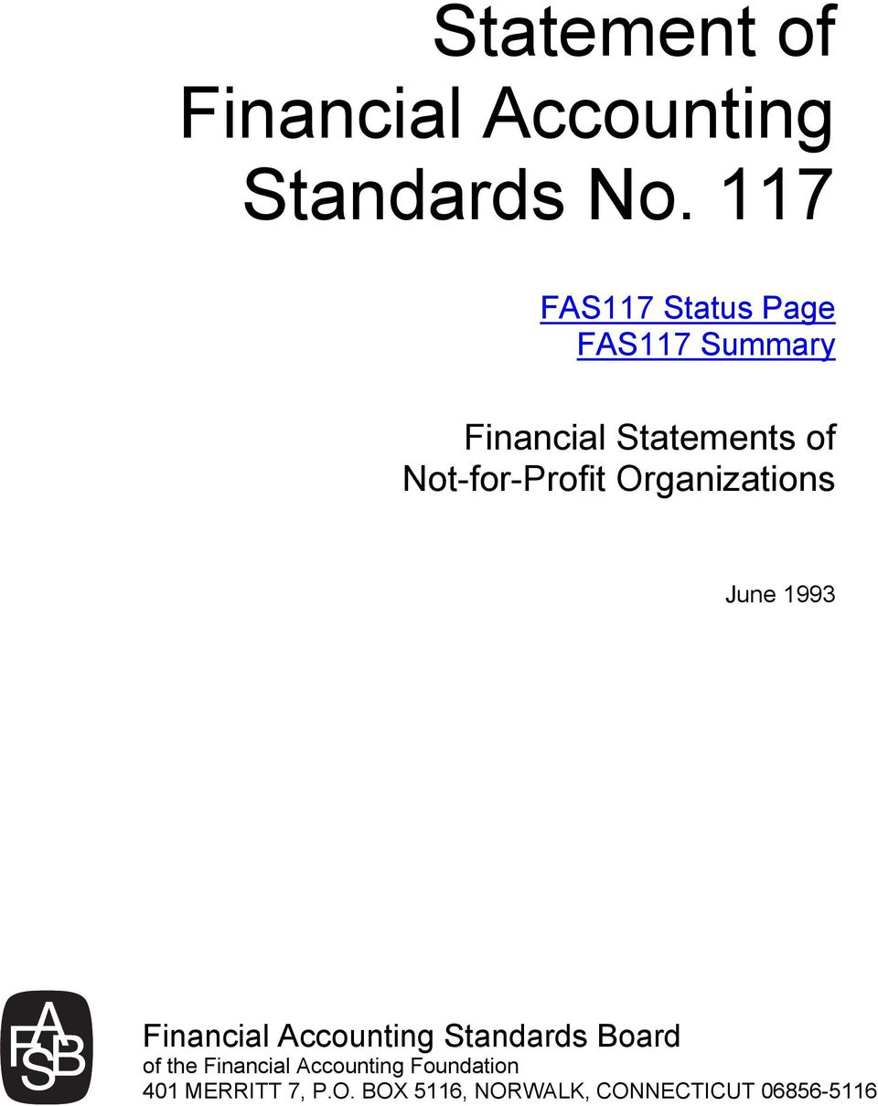 Not-for-Profit Organizations June 1993 Financial Accounting Standards
