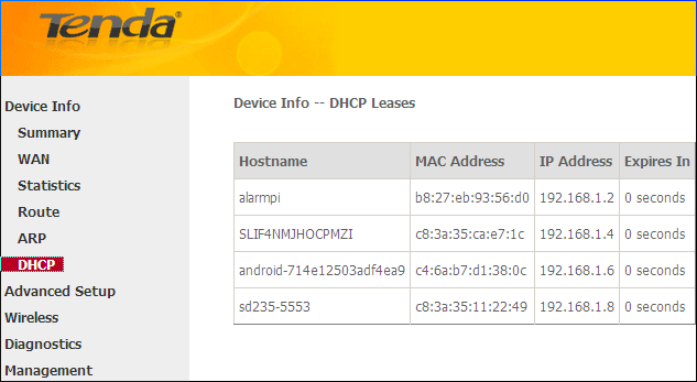 ARP Here you can view the IP and MAC addresses of the PCs that attach to the device either via a wired or wireless connection as seen in the screenshot: DHCP Here you can view the DHCP leases,