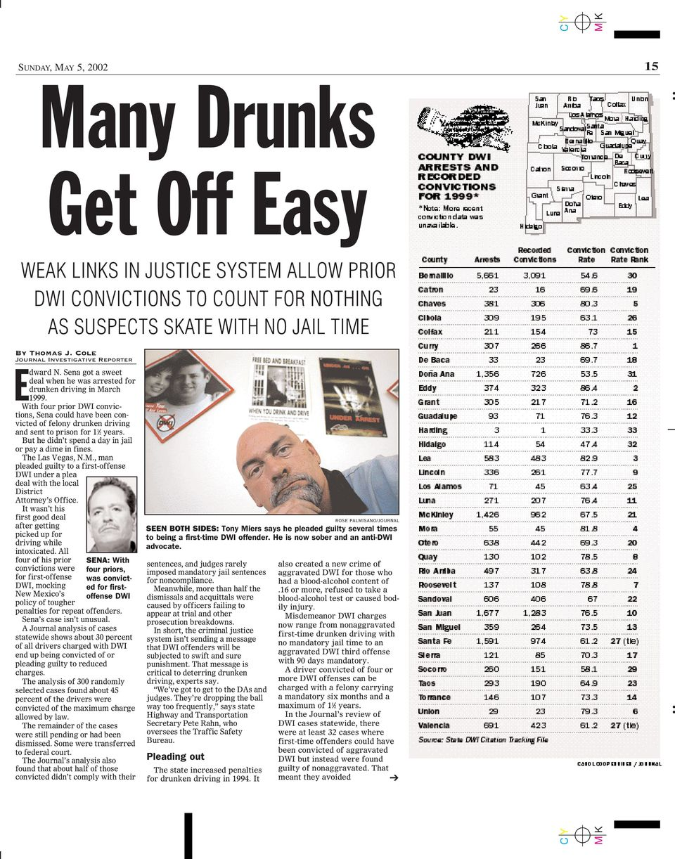 With four prior DWI convictions, Sena could have been convicted of felony drunken driving and sent to prison for 1 1 2 years. But he didn t spend a day in jail or pay a dime in fines.