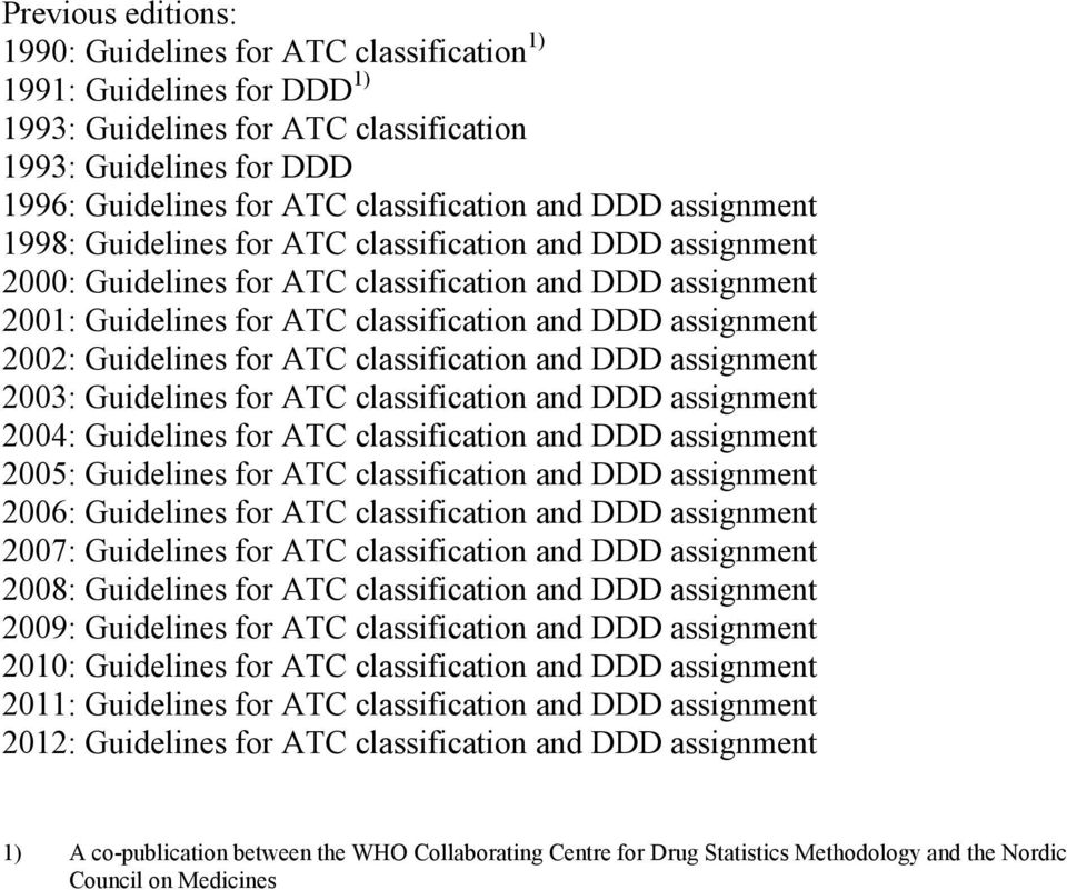 Guidelines for ATC classification and DDD assignment 2003: Guidelines for ATC classification and DDD assignment 2004: Guidelines for ATC classification and DDD assignment 2005: Guidelines for ATC