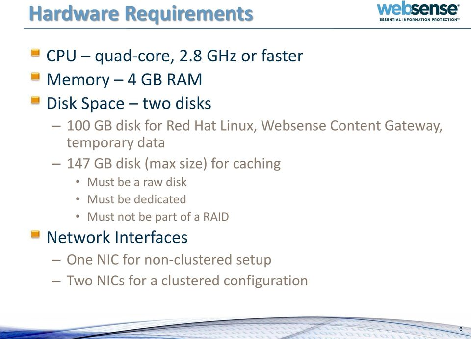Websense Content Gateway, temporary data 147 GB disk (max size) for caching Must be a