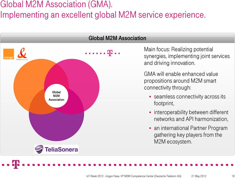 Global M2M Association GMA will enable enhanced value propositions around M2M smart connectivity through: seamless
