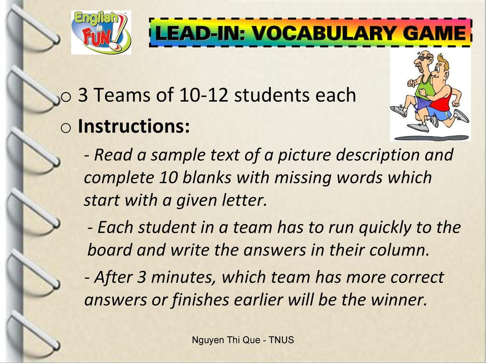 letter - Each student in a team has to run quickly to the board and write the answers in their
