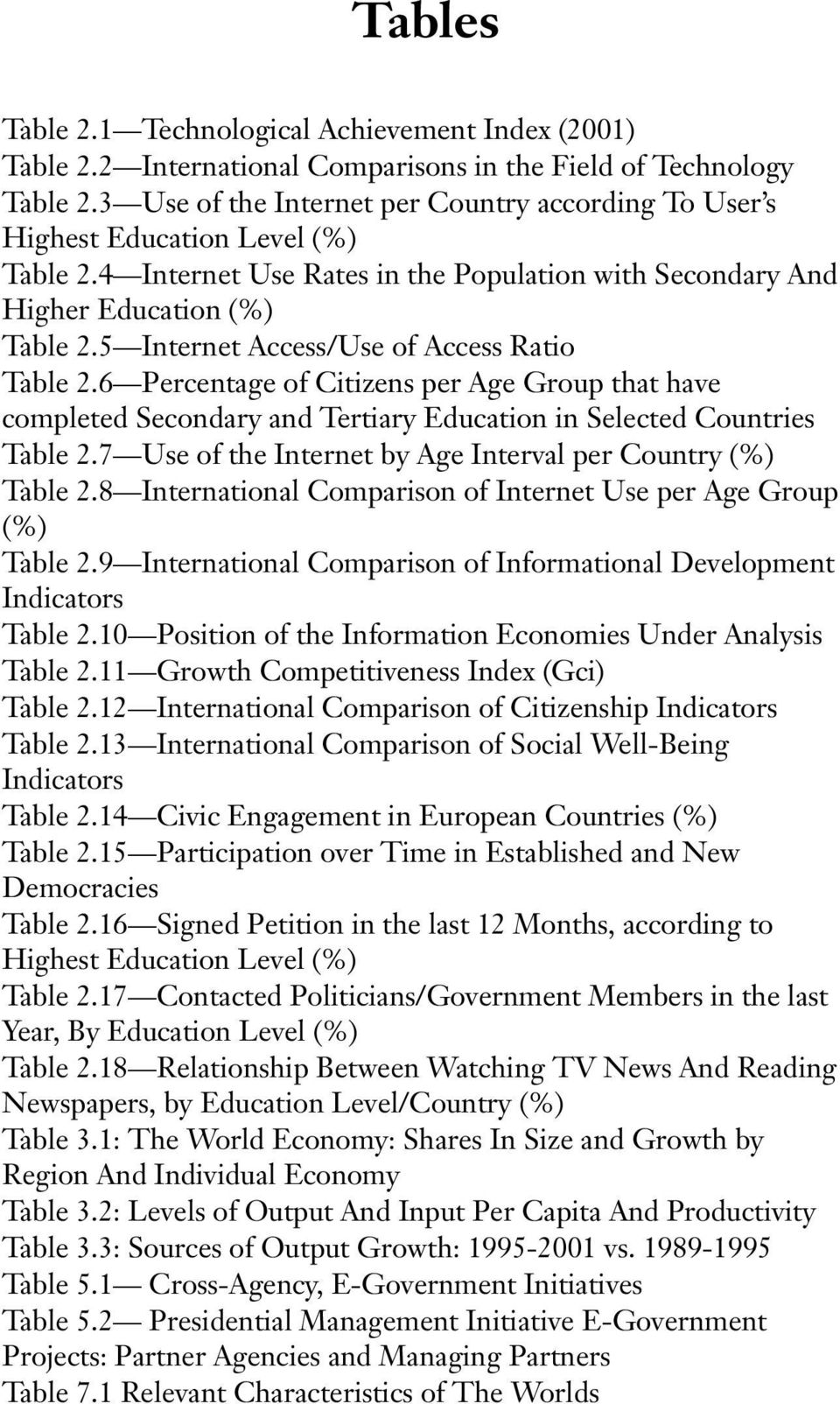 5 Internet Access/Use of Access Ratio Table 2.6 Percentage of Citizens per Age Group that have completed Secondary and Tertiary Education in Selected Countries Table 2.