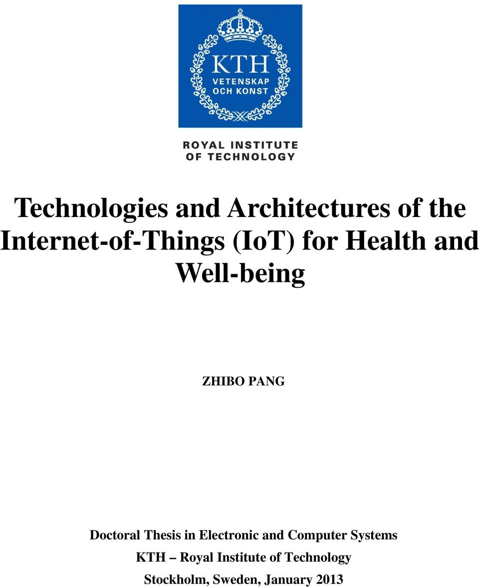 ZHIBO PANG Doctoral Thesis in Electronic and Computer
