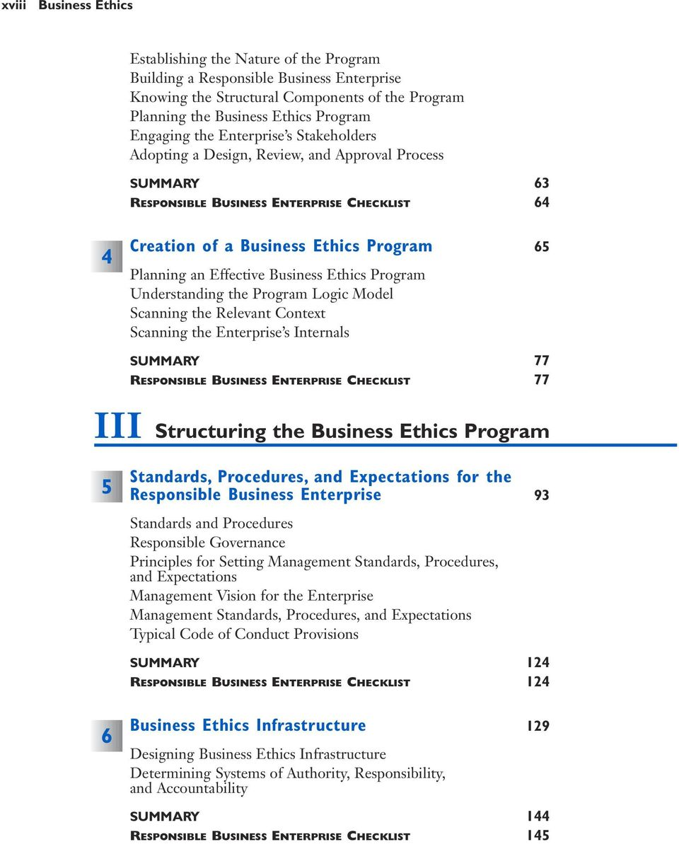 Business Ethics Program Understanding the Program Logic Model Scanning the Relevant Context Scanning the Enterprise s Internals SUMMARY 77 RESPONSIBLE BUSINESS ENTERPRISE CHECKLIST 77 III Structuring