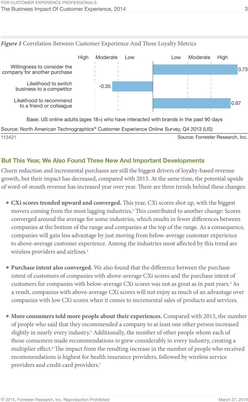 67 Base: US online adults (ages 18+) who have interacted with brands in the past 90 days Source: North American Technographics Customer Experience Online Survey, Q4 2013 (US) 113421 Source: Forrester