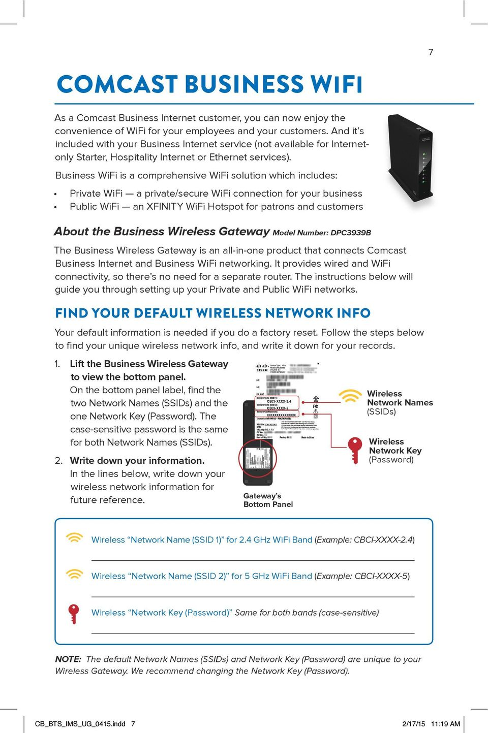 Business WiFi is a comprehensive WiFi solution which includes: Private WiFi a private/secure WiFi connection for your business Public WiFi an XFINITY WiFi Hotspot for patrons and customers About the