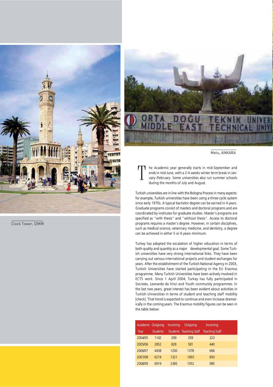 Clock Tower, ZM R Turkish universities are in line with the Bologna Process in many aspects: for example, Turkish universities have been using a three-cycle system since early 1970s.