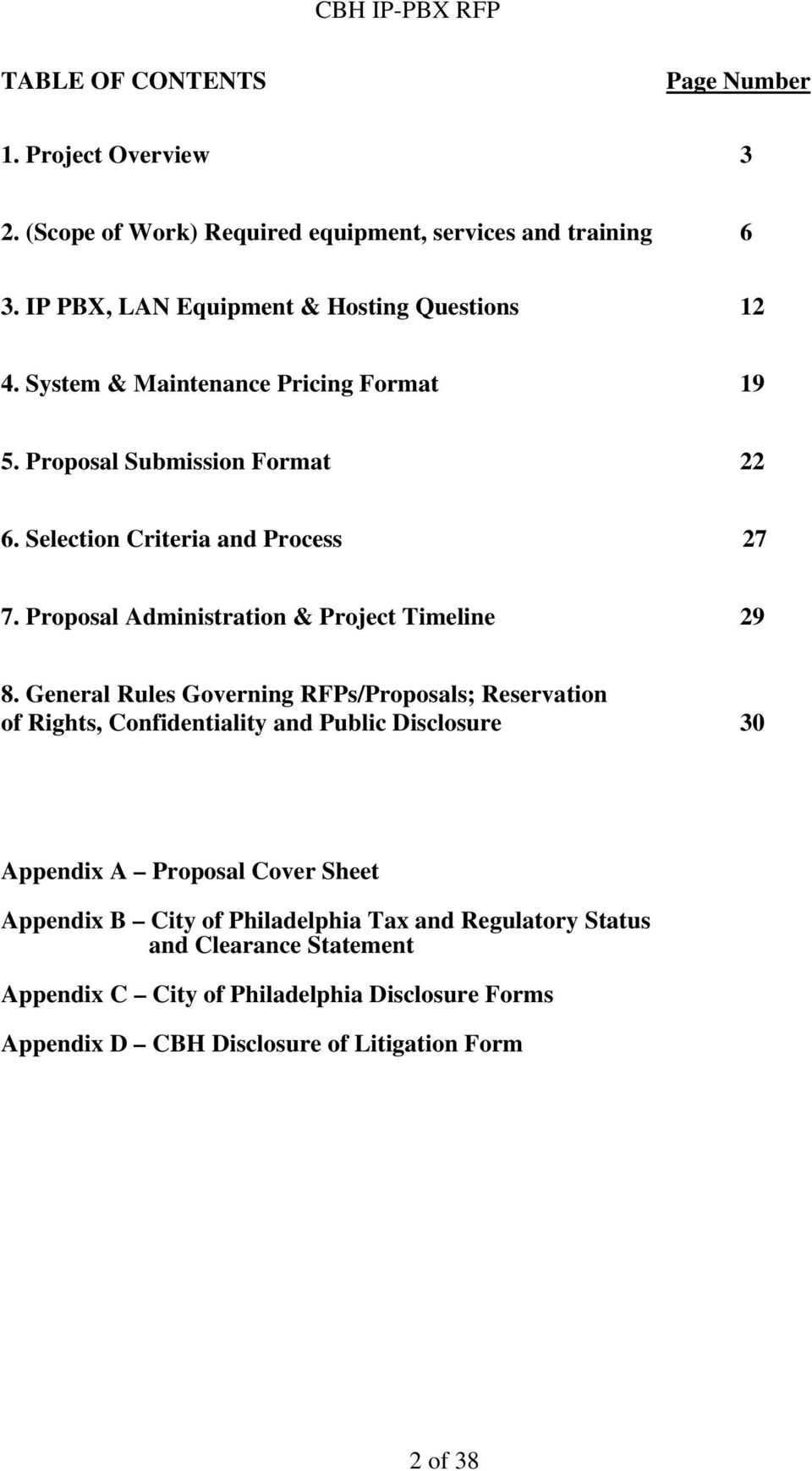 Proposal Administration & Project Timeline 29 8.