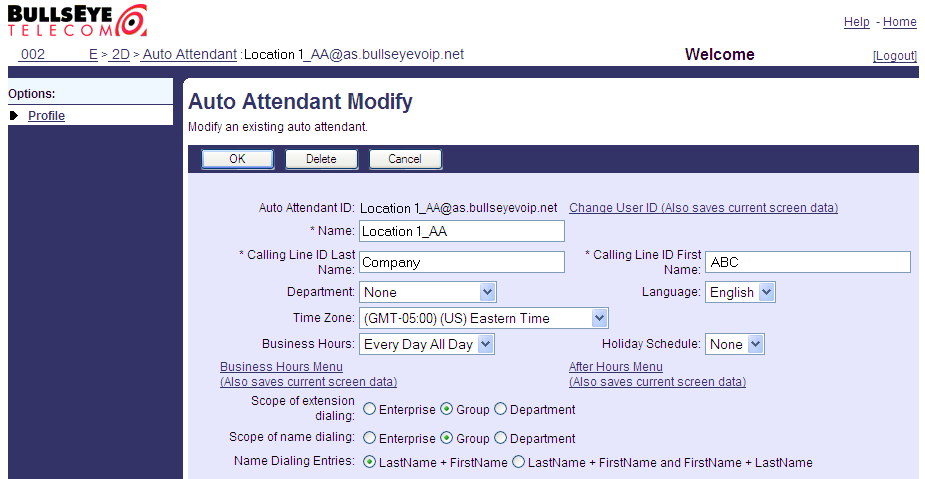 4. Select the Auto Attendant you want to maintain. The Auto Attendant Profile menu is displayed. 5. Click Profile.