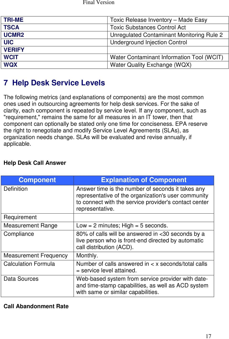 services. For the sake of clarity, each component is repeated by service level.