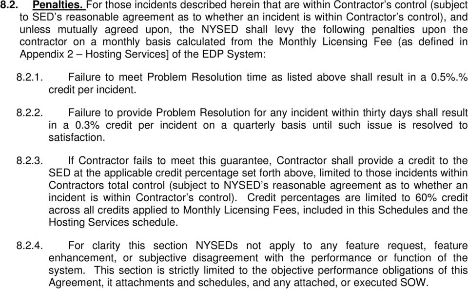 upon, the NYSED shall levy the following penalties upon the contractor on a monthly basis calculated from the Monthly Licensing Fee (as defined in Appendix 2 Hosting Services] of the EDP System: 8.2.1.