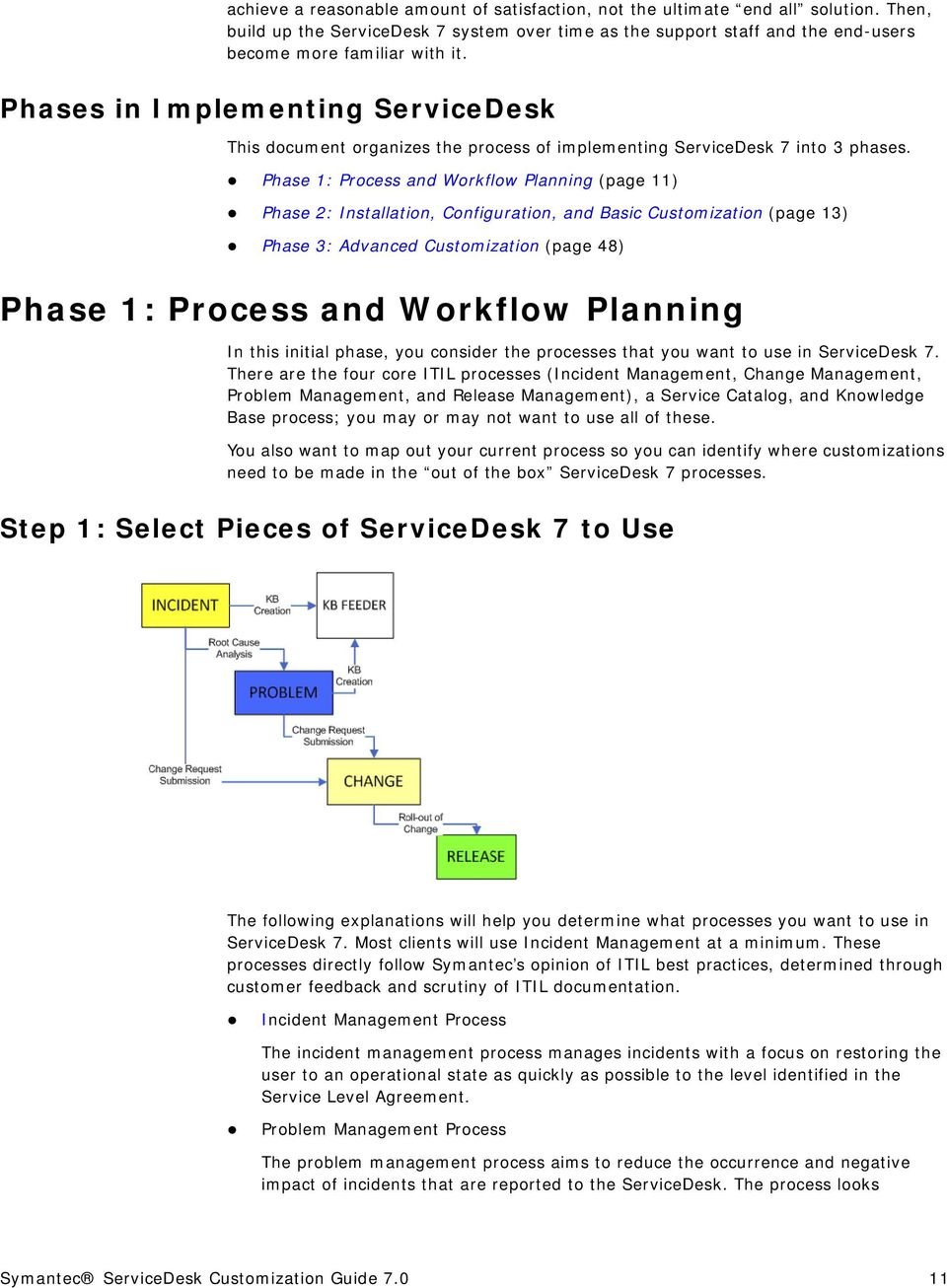 Phase 1: Process and Workflow Planning (page 11) Phase 2: Installation, Configuration, and Basic Customization (page 13) Phase 3: Advanced Customization (page 48) Phase 1: Process and Workflow