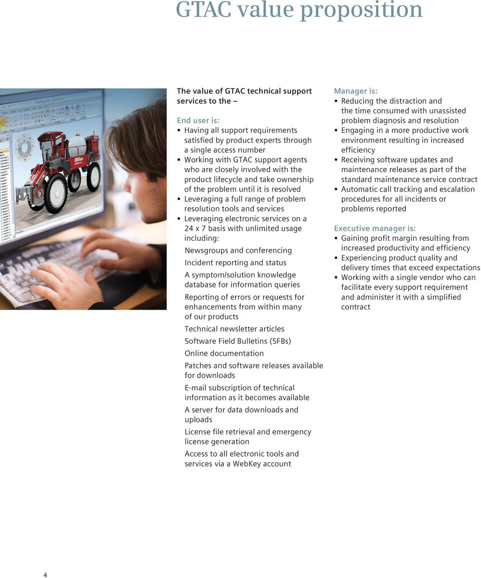 electronic services on a 24 x 7 basis with unlimited usage including: Newsgroups and conferencing Incident reporting and status A symptom/solution knowledge database for information queries Reporting