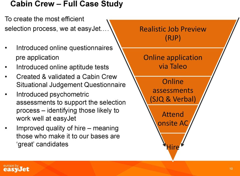 Questionnaire Introduced psychometric assessments to support the selection process identifying those likely to work well at easyjet