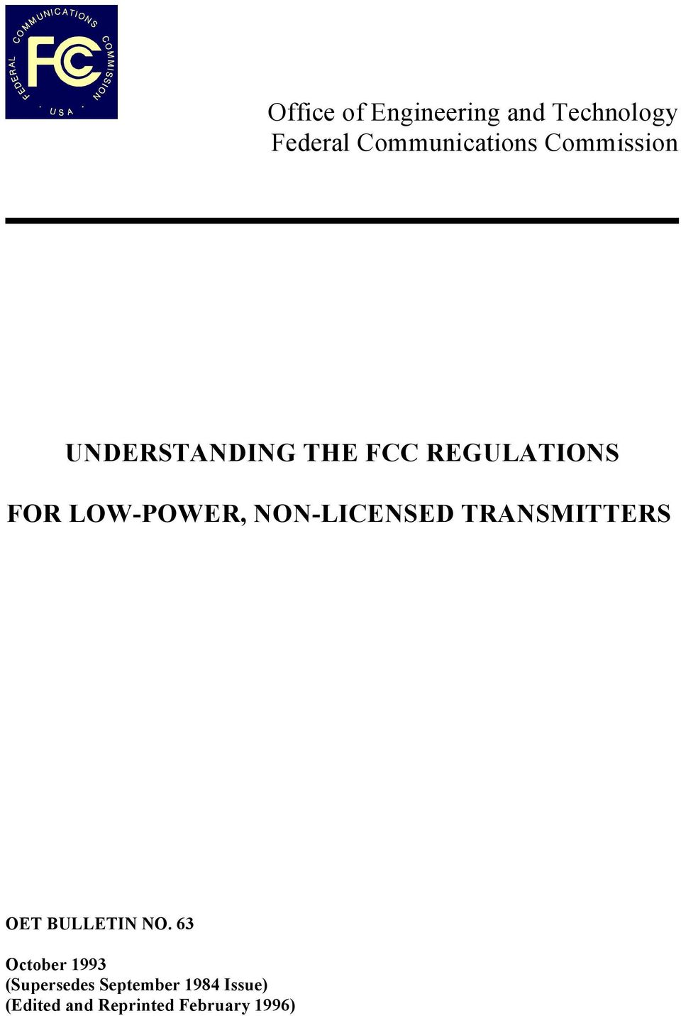 NON-LICENSED TRANSMITTERS OET BULLETIN NO.