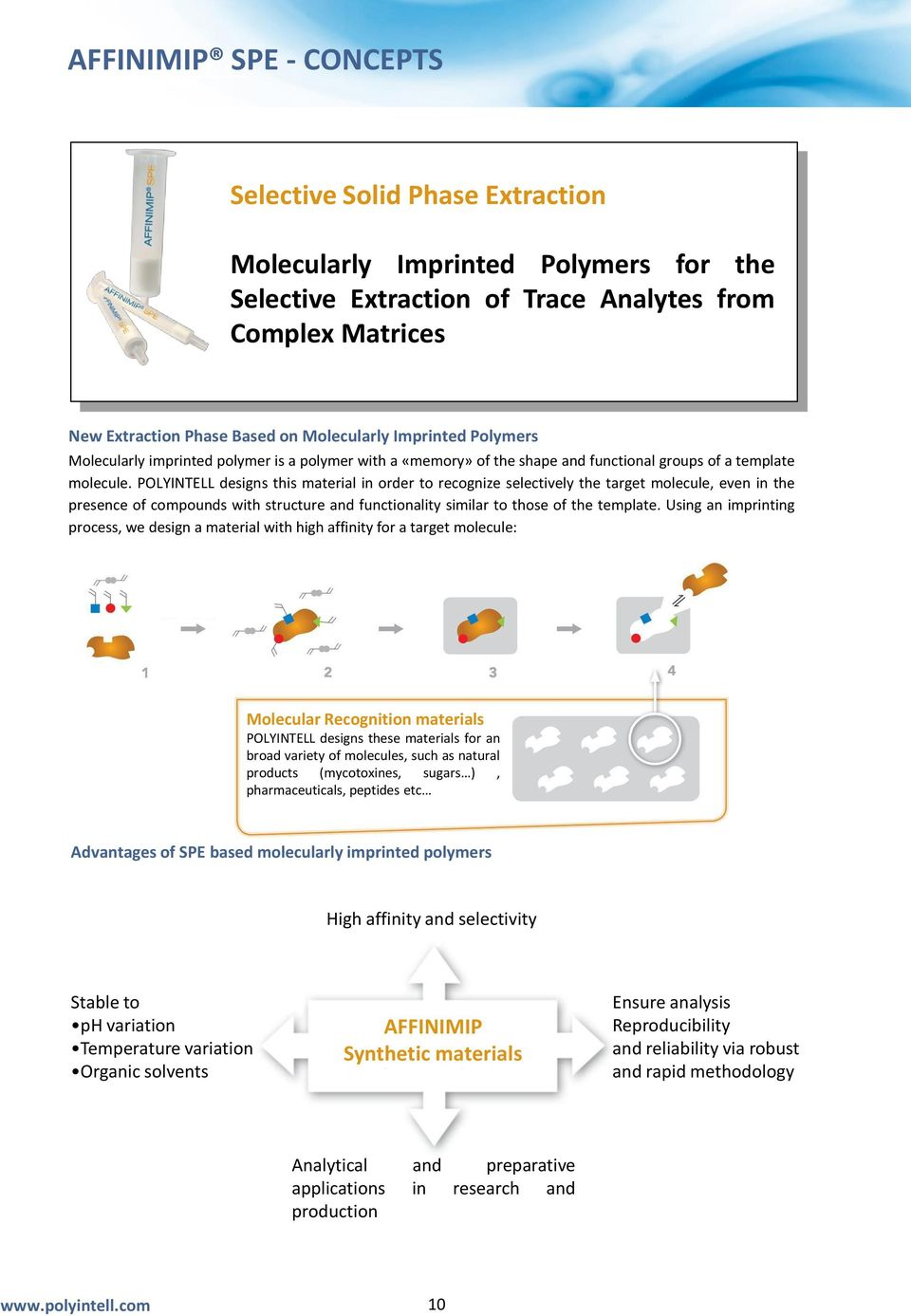 POLYINTELL designs this material in order to recognize selectively the target molecule, even in the presence of compounds with structure and functionality similar to those of the template.
