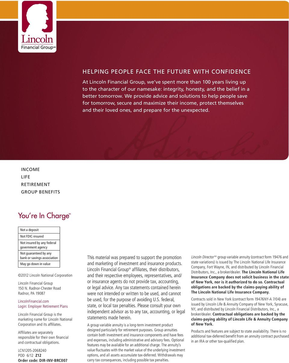 program Lincoln Director SM FOR RETIREMENT Investment Options
