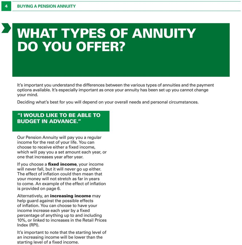 I WOULD like to be able to budget in advance. Our Pension Annuity will pay you a regular income for the rest of your life.