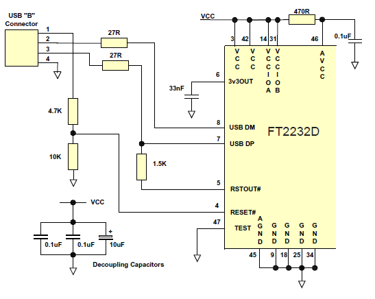 6.1 USB Self Powered Configuration Document No.: FT_000173 Figure 6.2 Self Powered Configuration Figure 6.2 illustrates the FT2232D in a typical USB self powered configuration.