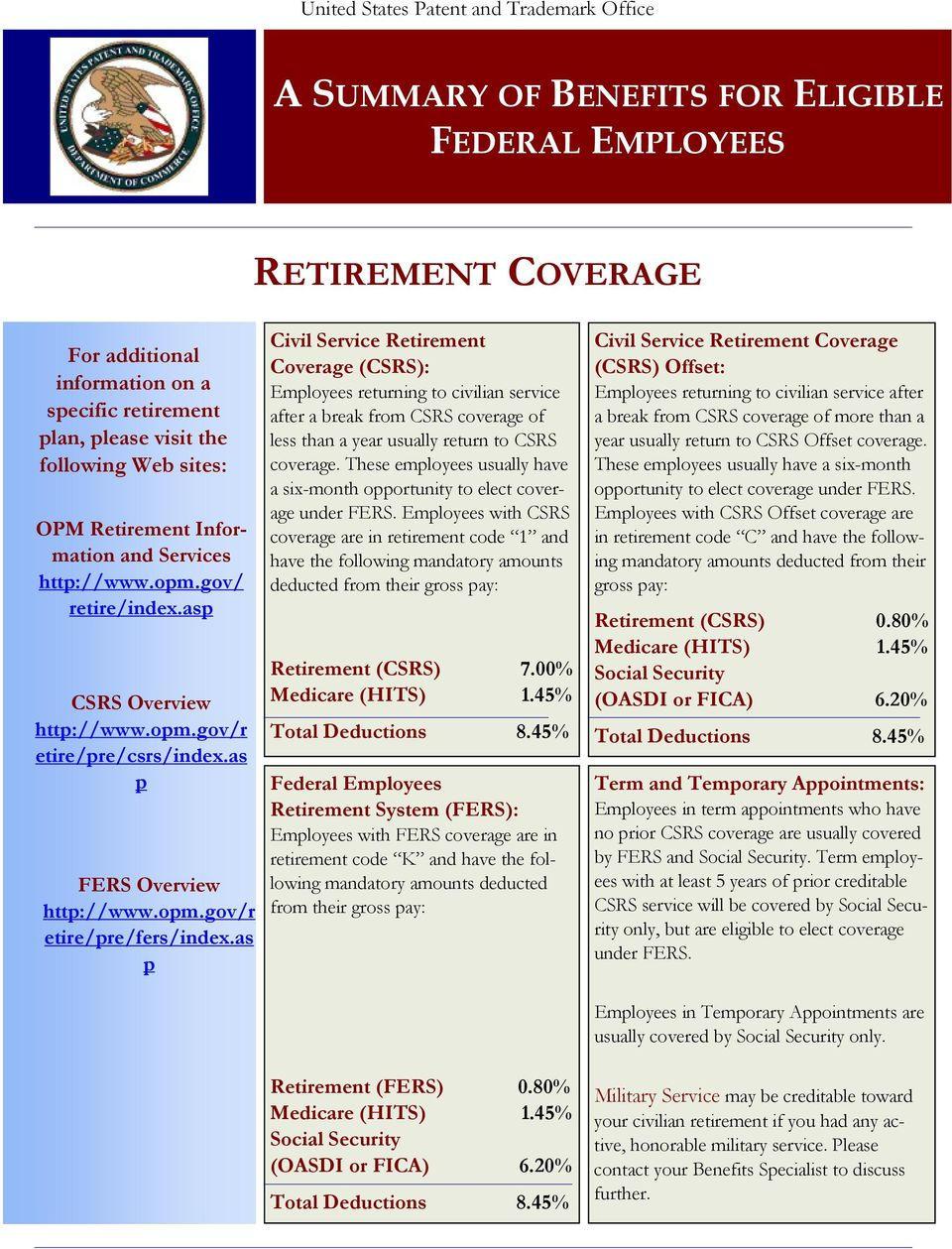 as p Civil Service Retirement Coverage (CSRS): Employees returning to civilian service after a break from CSRS coverage of less than a year usually return to CSRS coverage.