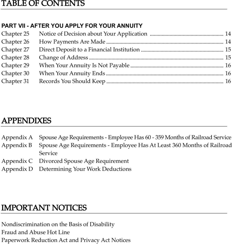Appendix A Appendix B Appendix C Appendix D Spouse Age Requirements - Employee Has 60-359 Months of Railroad Service Spouse Age Requirements - Employee Has At Least 360 Months of Railroad
