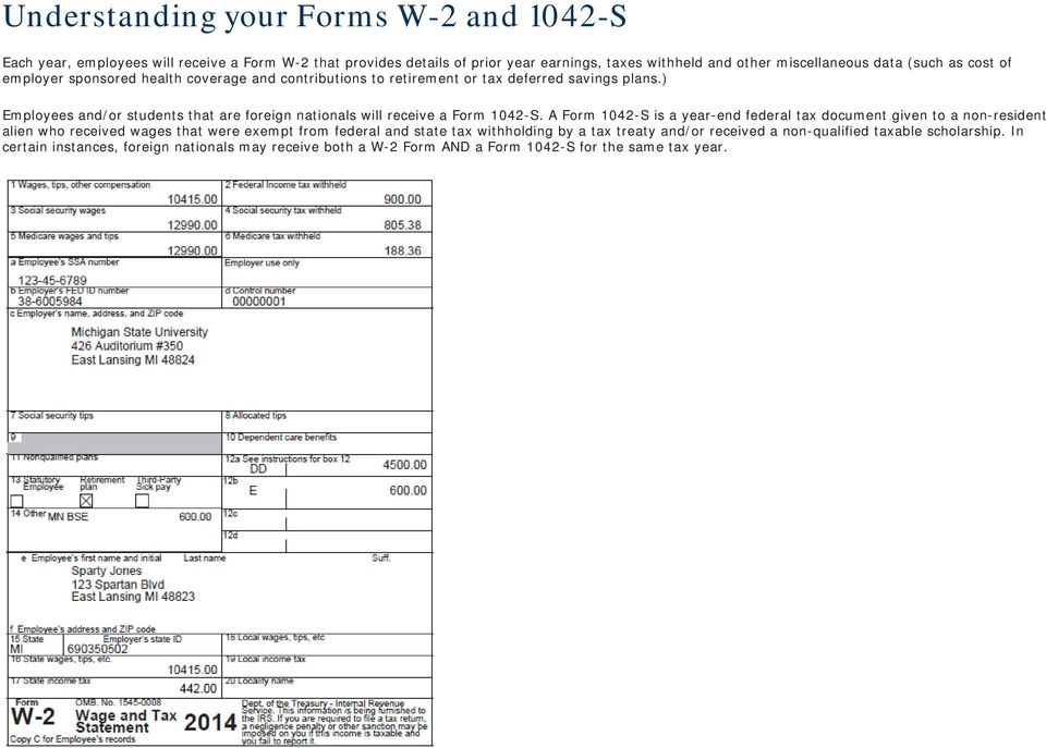 ) Employees and/or students that are foreign nationals will receive a Form 1042-S.